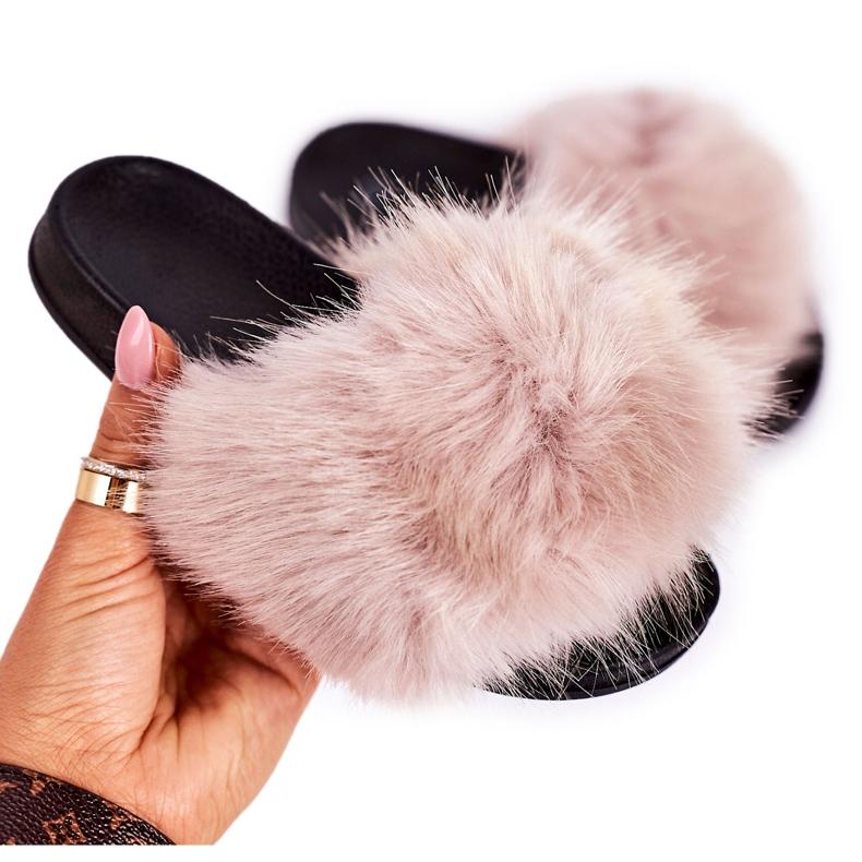 Children's Beige Fashionista Fur Slippers