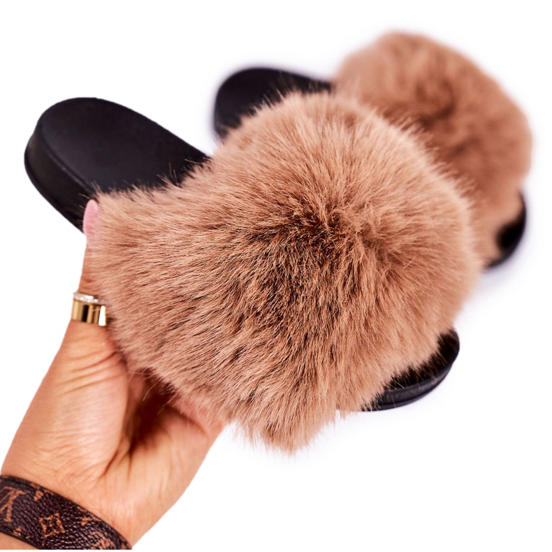 Children's Slippers With Fur Light Brown Fashionista