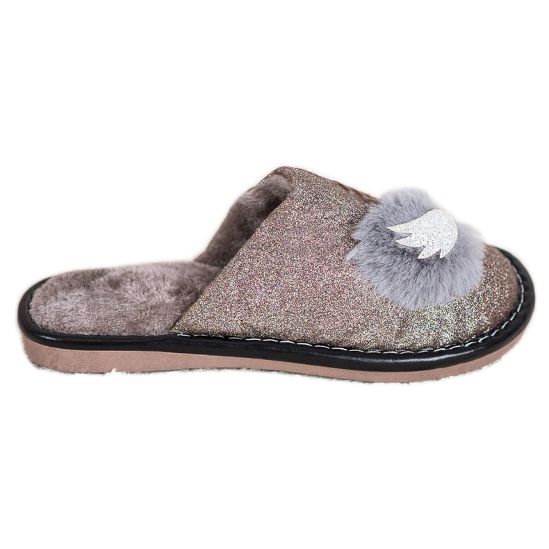 Bona Stylish Slippers With Application beige brown