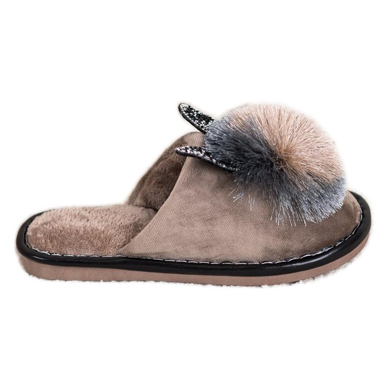 Bona Stylish Slippers With Pompom beige
