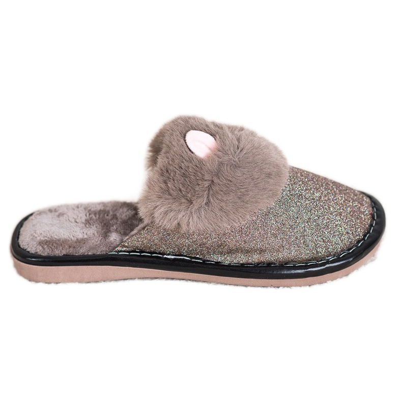 Bona Glitter Slippers With Damage beige