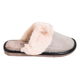 Bona Comfortable Slippers With Fur beige