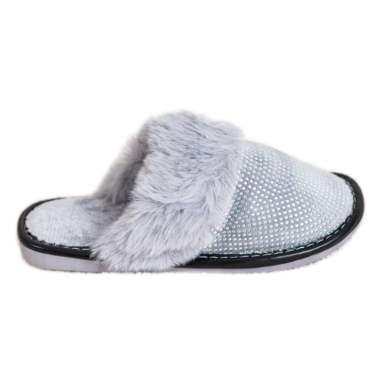 Bona Comfortable Slippers With Fur grey