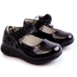 Apawwa Children's ballerinas with Velcro With Lace Black Evelyn