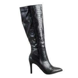 Comer Snake Print High Heel Boots black