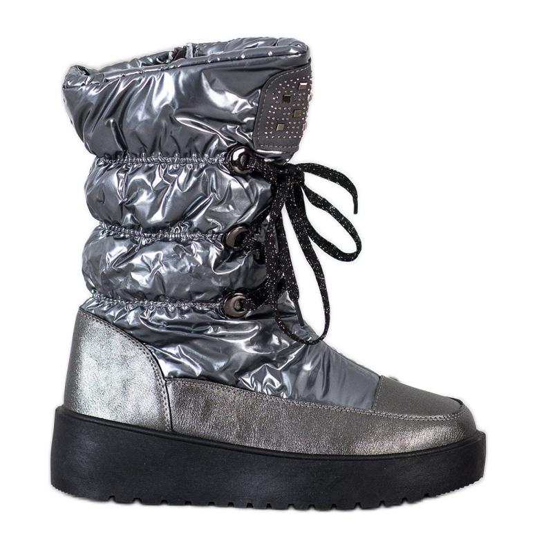 SHELOVET Stylish Snow Boots On The Platform silver grey