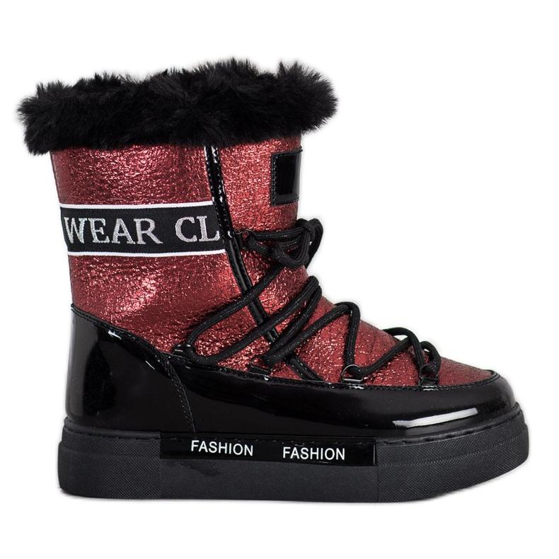 SHELOVET Shiny Fashion snow boots black red