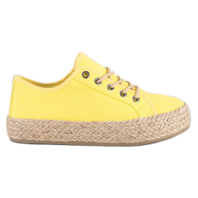 Kylie Sneakers On A Straw Platform yellow