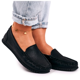 Women's Classic Leather Loafers S.Barski LR97630 Black