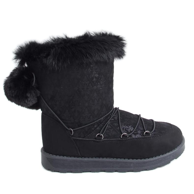 Black women's snow boots 259 Black