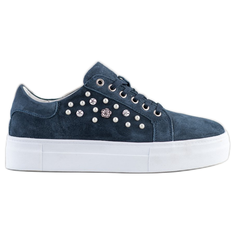 Filippo Leather Sneakers On The Platform navy blue blue