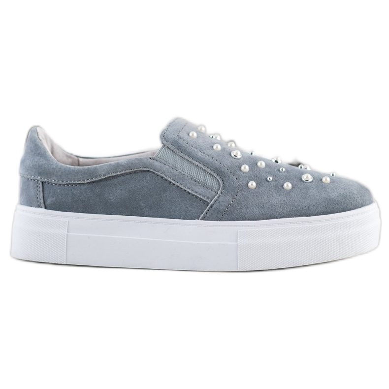 Filippo Leather Slipons With Pearls grey