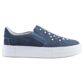 Filippo Leather Slipons With Pearls blue