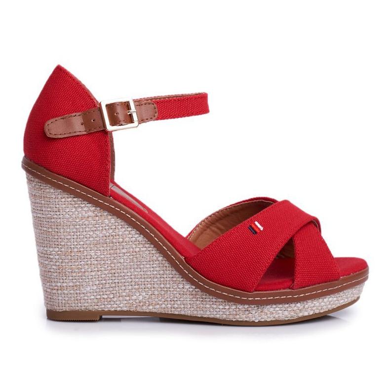 SEA LaMane Women's Red Wedge Sandals beige