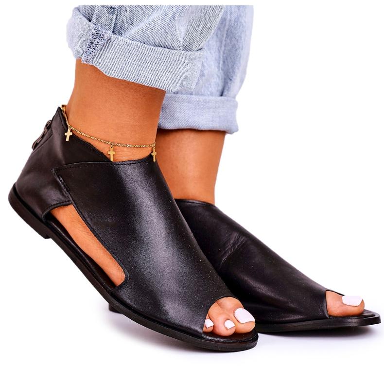 Nicole Women's Flat Leather Sandals Black Natalie