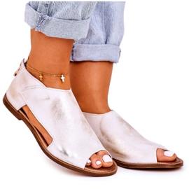 Nicole Women's Flat Leather Sandals White Natalie golden