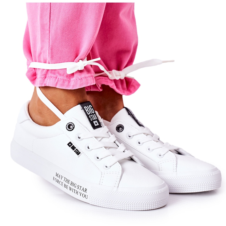 Women's leather sneakers with the inscription Big Star EE274316 White