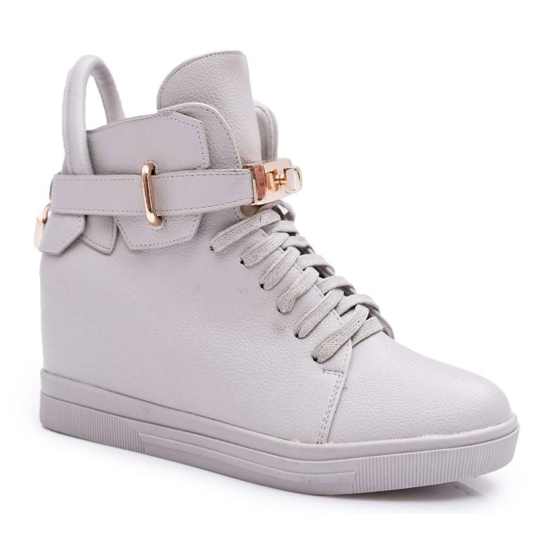 Women's Sneakers On Wedge Gold Padlock Gray Tersey grey