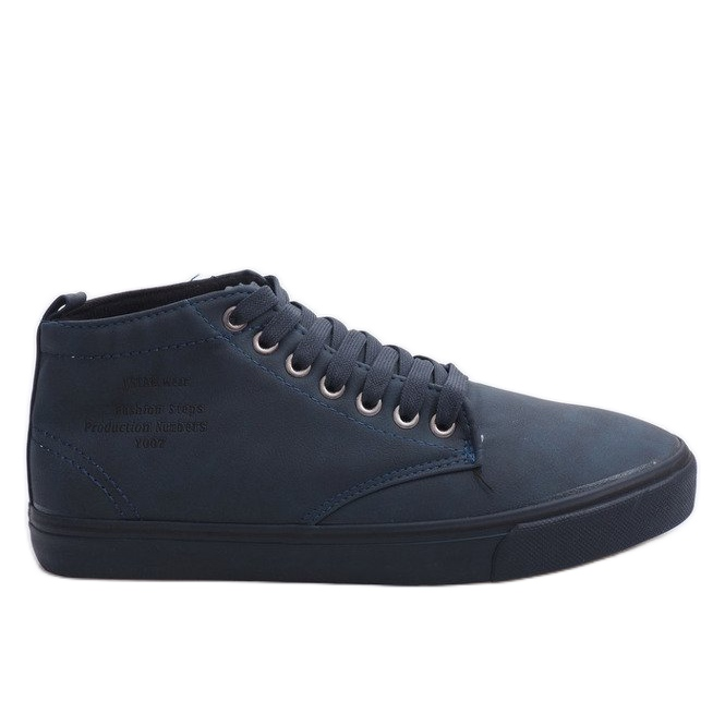 Stylish High-top Sneakers Y007 Navy Blue