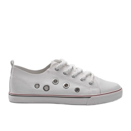 White leather sneakers FG-2767