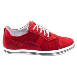 Polbut Casual men's shoes 1801P red nubuck