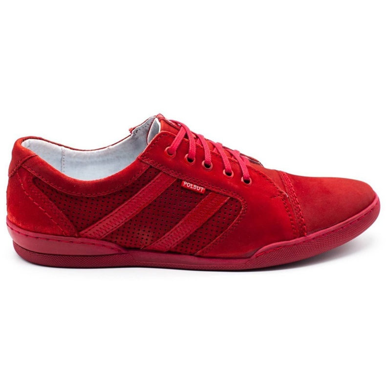 Polbut Casual men's shoes R3 Perforation red