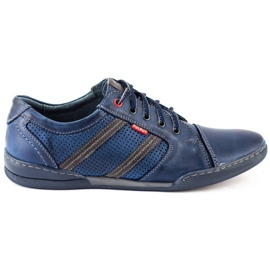 Polbut Men's casual shoes R3 Perforation Navy Blue