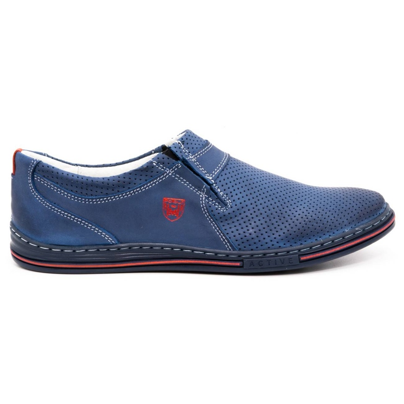 Polbut Men's leather shoes 362 with navy blue perforation