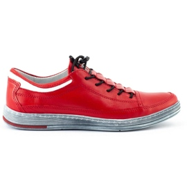 Polbut Men's leather casual shoes K22 red