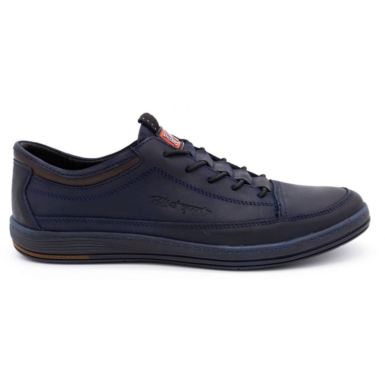 Polbut Men's casual leather shoes K22 navy blue with brown multicolored