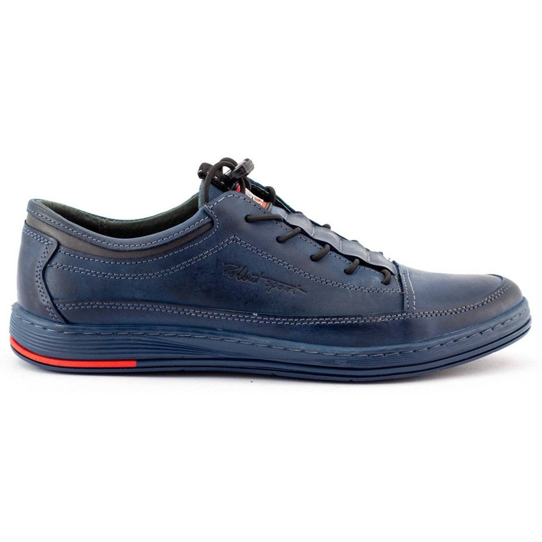 Polbut Men's leather casual K22 navy blue shoes multicolored