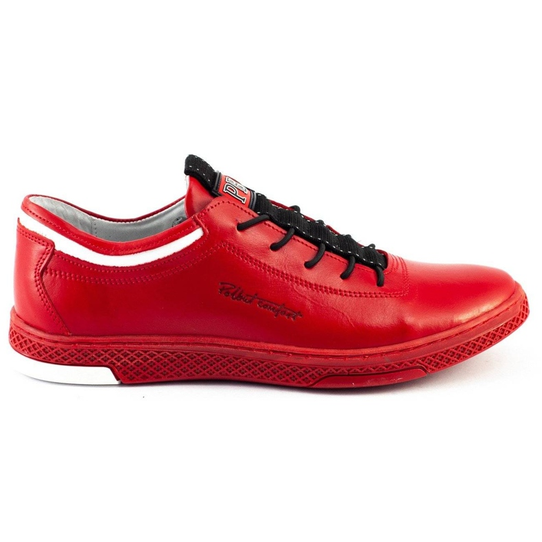 Polbut Men's leather casual shoes K23 red