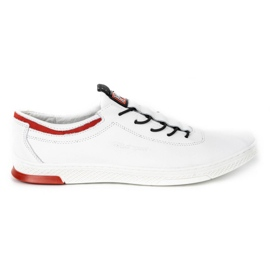 Polbut Men's leather casual shoes K23 white with red multicolored