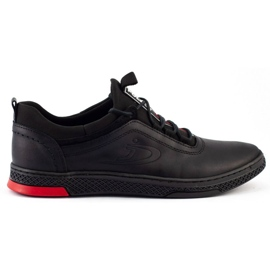 Polbut Black casual leather men's shoes K24