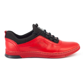 Polbut Men's leather casual shoes K24 red