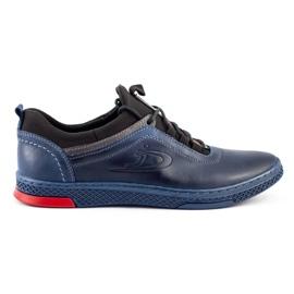 Polbut Men's casual leather K24 navy blue shoes