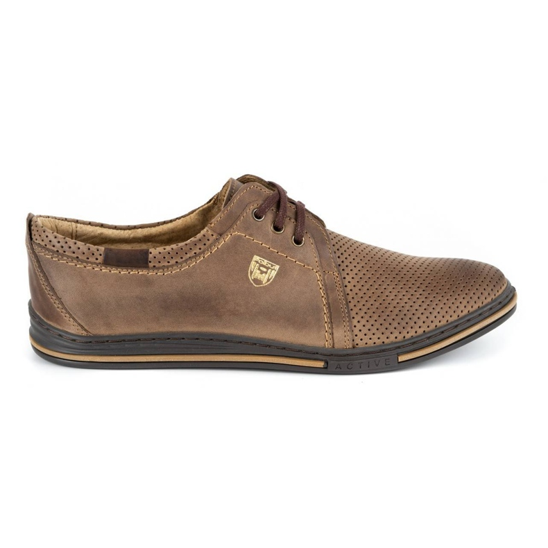 Polbut Leather men's shoes 343 perforation brown