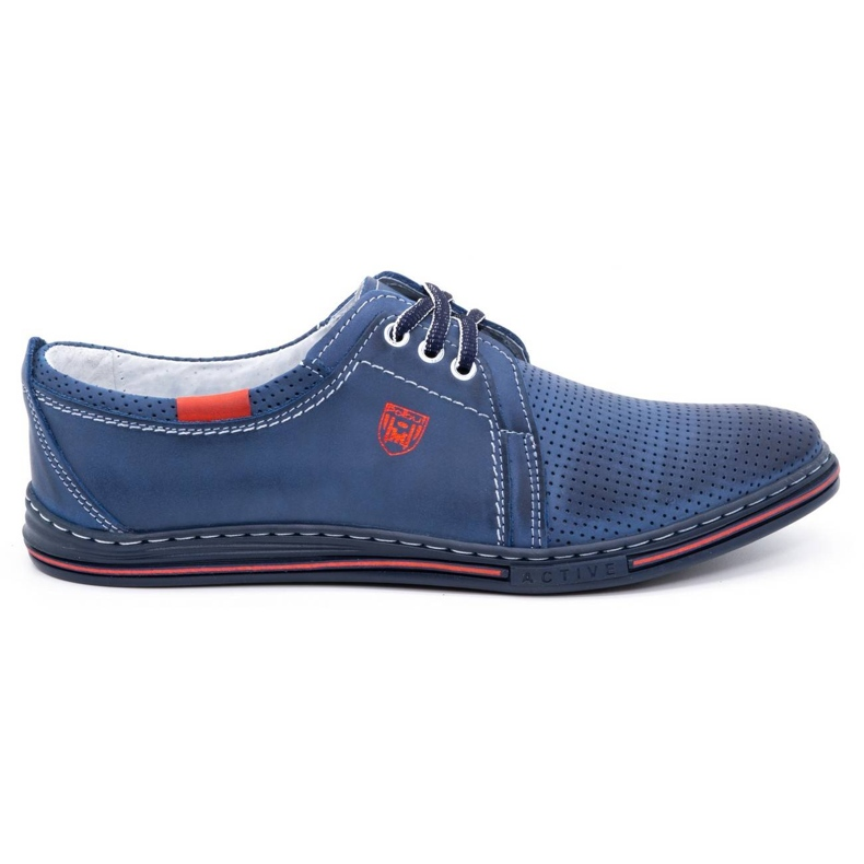 Polbut Men's leather shoes 343, navy blue perforation