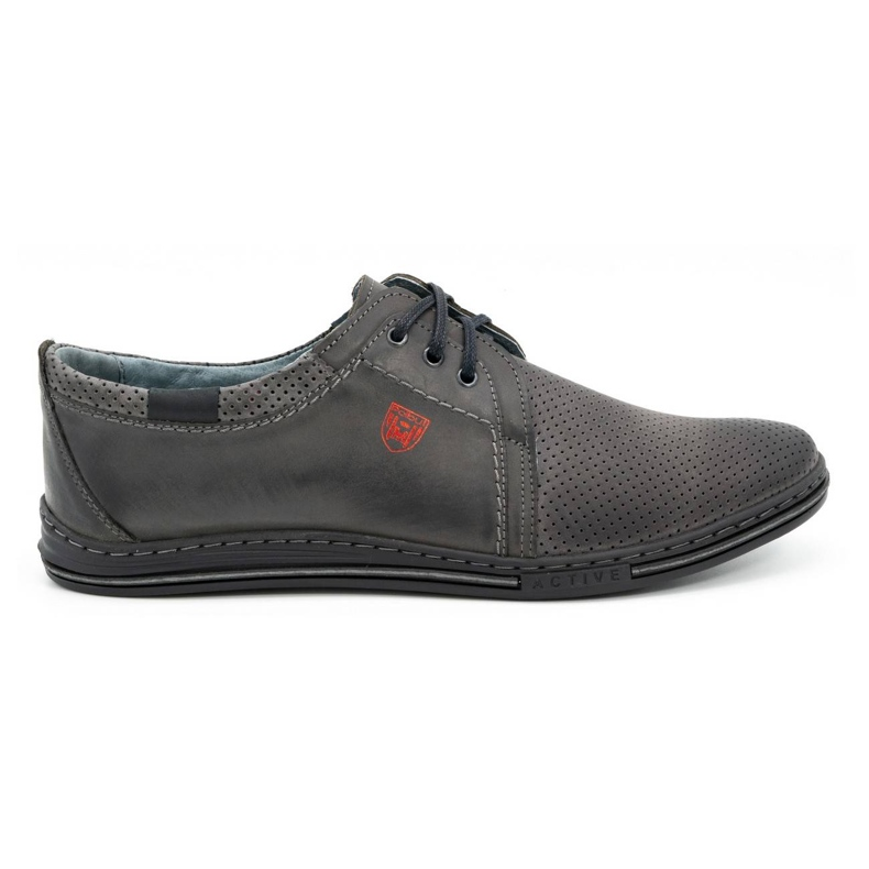 Polbut Men's leather shoes 343, gray perforation grey