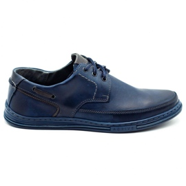 Polbut Leather men's shoes J44 navy blue