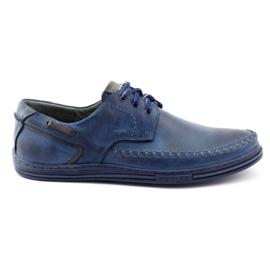 Polbut Leather men's shoes J44PŁ Navy blue