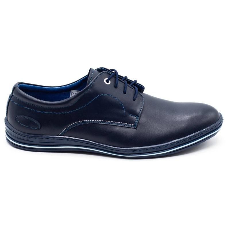 Lukas Men's premium leather shoes 295 navy blue