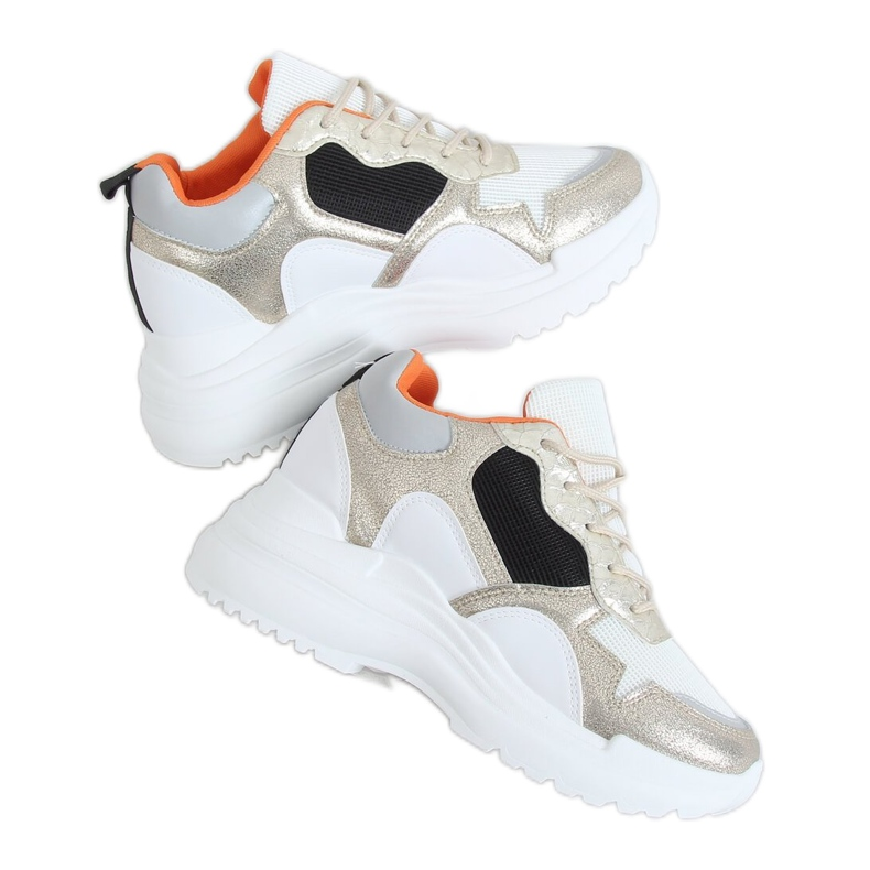 White and gold 3171 Gold wedge sports shoes golden