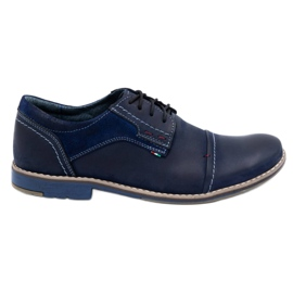 Olivier Men's leather shoes 253 navy blue