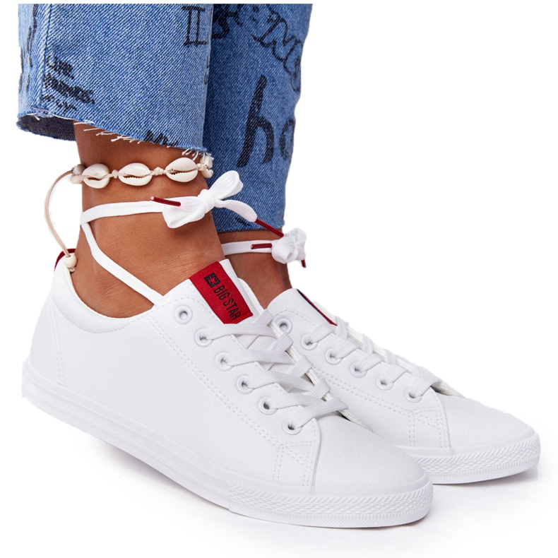 Women's Leather Sneakers With A Ribbon Big Star DD274685 White