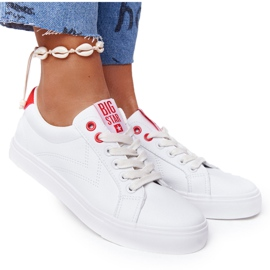 Women's Leather Sneakers Big Star BB274210 White and Red