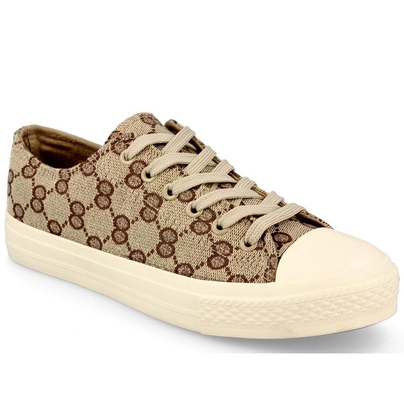 Women's Classic Logged Khaki Challenge Sneakers beige brown