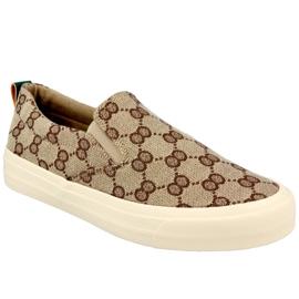 Women's Logged Sneakers Slip-On Khaki Challenge beige brown