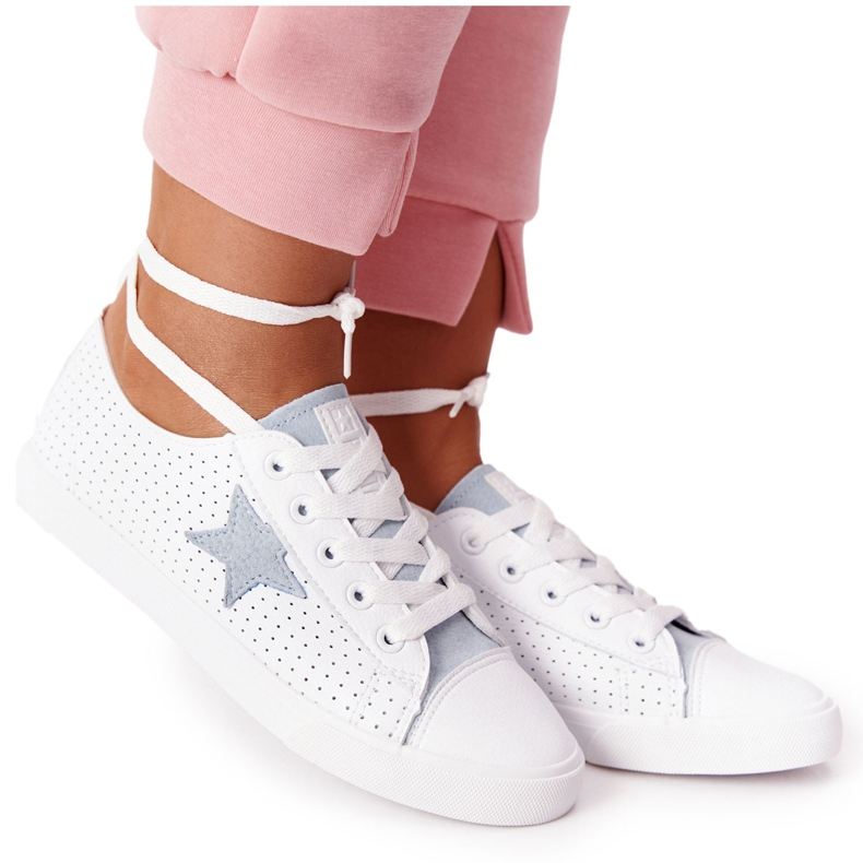Women's Leather Sneakers With a Star Big Star DD274692 White-Blue