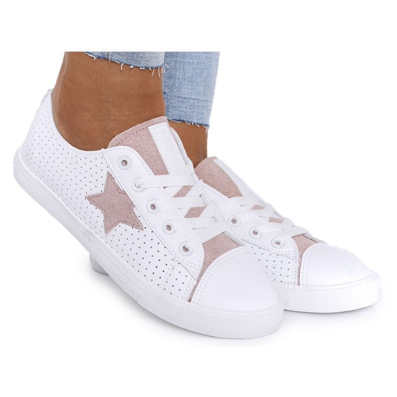 Women's Leather Sneakers With a Star Big Star DD274691 White-Pink